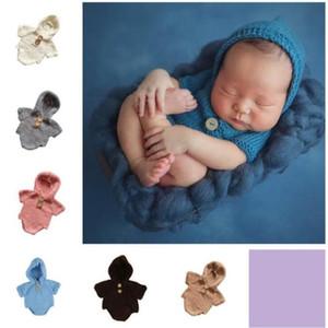 Neugeborenes Foto Strampler Kids Designer-Kleidung-Baby-handgemachte Pullover stricken Wolle Jumpsuits Boutique Onesies Mädchen mit Kapuze Strampler Strick C6808