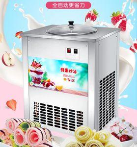 Коммерческая жареный лед машина Ice Cream Maker Single круглый Жареный йогуртовый напиток жареный машина мороженого 220v