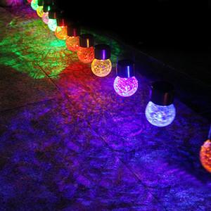 Bola de vidro quente Crackle jardim lâmpada Mudando a cor do Crackle LED Vidro Lâmpada Outdoor Solar Powered Jardim Detalhes no Jardim Ware T2I5218