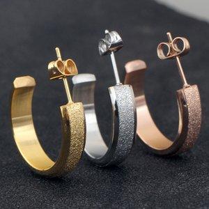 Серьги для женщин ювелирные изделия из розового золота титана стали серьги, матовые из нержавеющей стали серьги для подарка партии