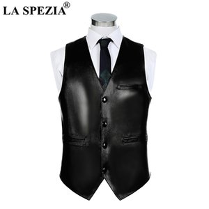 LA SPEZIA Mens Waistcoat Genuine Sheepskin Leather Vest Male Business  Solid Vintage Autumn Plus Size Sleeveless Jackets