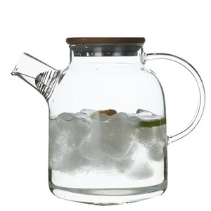 Glass Teapot with Bamboo Lid Stove Top Safe Heat Resistant Borosilicate Glass Kettle Pitcher for Tea Juice Water Coffee 1800ml