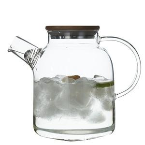 Vidro Bule com bambu Lid Fogão Top Safe resistente ao calor Pitcher Borosilicate Chaleira de vidro para suco Tea 1800ml de café da água