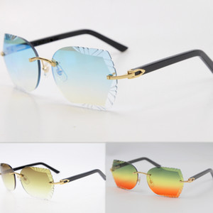 Geschnitzte Linse Sonnenbrillen 8200762 Randlose Metallmischung Aztekische Schwarze Planke Sonnenbrille Unisex Optische Katze Eye Slim und längliche Dreiecklinsen heiß