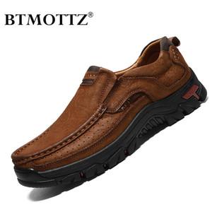 BTMOTTZ cuero genuino de los zapatos ocasionales de los hombres zapatillas de deporte para hombre de los holgazanes 2020 mocasines resbalón respirable en los zapatos más el tamaño de conducción