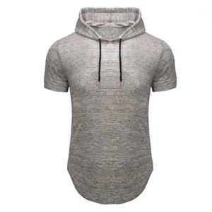 Homme Designer Top manica Slim Moda Uomo incappucciato di svago fitness maglietta Estate Fit Breve T casuali
