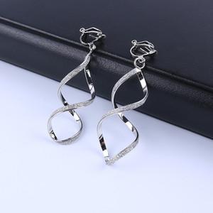 4 colore della geometria irregolare metallo Motivo a onde clip glitter su orecchini non trafitto per le donne Minimalismo clip dell'orecchio gioielli di moda