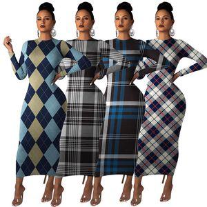 Plaid Print Womens Designer Dress Long Sleeve Crew Neck Womens Vintage Dress Autumn Female Casual Dress