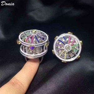Donia jewelry hot ring fashion carousel full of zircon ring European and American Creative ring handmade gifts for men and women