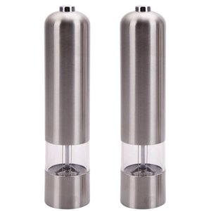 Pepper Mills Salt Grinder Stainless Steel Automatically Powered by Batteries Adjustable Fineness of the Grind Silver