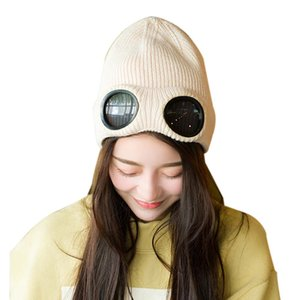 Unisex Wool Knitted Goggles Beanie, Leisure Thermal Fluffy Warm Autumn Winter Hat Sports Cap Heat Keeper Ear Snow Cold Protector