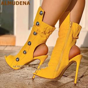المودينا الأصفر رصع اللمحة تو الجوارب الخنجر كعب المعادن الديكور اللباس أحذية وقف خارج الكاحل أحذية عالية الكعب مضخات دروبشيب