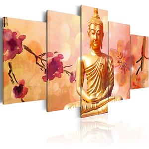 5 pcs Le Monde Histoire Thai Statue De Bouddha Toile Mur Peinture Art Moderne Décoration Wall Art Photo À Bouddha Sans Cadre