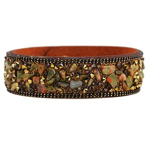 Charms Cuff Friendship Bracelets bangles Leather With Crystals Natural Stone Bracelet For Girls Women Jewelry Gifts 1.9*20CM
