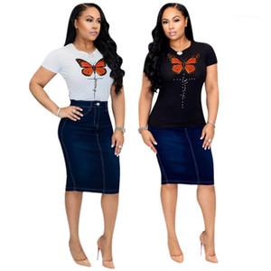 Tshirts Yaz Tasarımcı Tayfa Boyun Yapay elmas İnce Kısa Kollu Tişörtler Dişiler Moda Casual Giyim Kadın Kelebek Nakış