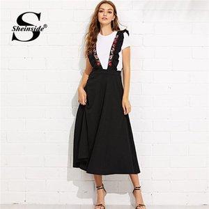 Sheinside taille haute fermeture éclair au dos Flare Jupe brodé Bracelet Noir Jupes longues pour les femmes Une ligne élégante 2019 Jupe mi-longue