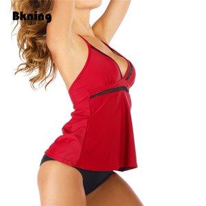 Tankini traje de baño de dos piezas 2 Tamaño falda de las mujeres del traje de baño Swim Plus con Biquini cortocircuitos rojos de la vendimia de gran tamaño ropa de playa 2020 Nuevo