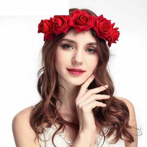 Las mujeres flor de la corona de la venda wedding ROSEBRIDE corona de flores niña de las flores del pelo de la boda corona de pelo rojo de la novia Rose