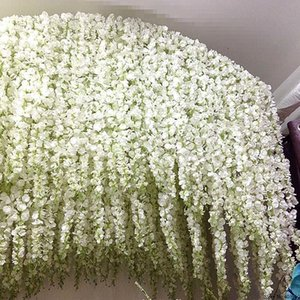 120cm Long Wisteria vine Rattan flowers for Wedding Arch party decoration white Vine Artificial flowers flores Garland Wreath T191029
