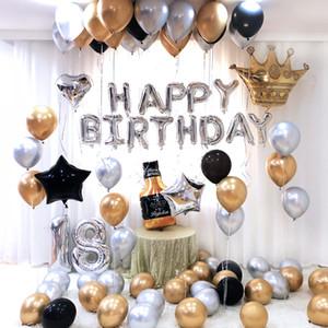 Doğum Parti Süsleri Yetişkin Doğdun Ballon Garland Altın Siyah Pembe Mavi Metal Lateks Ballon Seti Yıldönümü Dekor SH190920