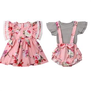 Outfits Eşleştirme çocuk giyim yaz Bebek Çocuk Kız Little Big Sister Maç Elbise Giydirme tulumları Suit Kıyafetler Aile