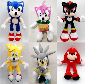 25 centímetros de Sonic Pelúcia Sonic the Hedgehog Bichos de pelúcia Bonecas do ouriço Sonic & Knuckles the Echidna Bichos de pelúcia brinquedos de pelúcia caçoa o presente
