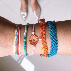 VSCO Mädchen-Freundschaft-Armbänder Set Handmade Daisy Sunflower Seil-Armbänder Boho Femme Accessoires Geschenke für Frauen