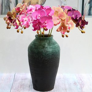 2 Forcella 6Head 3d Stampa artificiale farfalla Orchidea di plastica verde idilliaco Paese Falso Tabella di cerimonia nuziale della decorazione interna Fiore artificiale