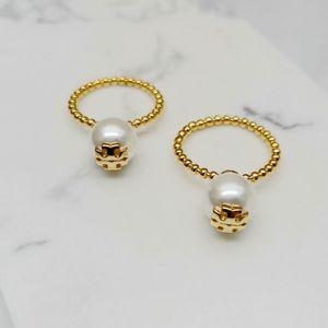 Para as mulheres para a menina Frete grátis Marca Hot Sale Pérola real banhado a ouro Marca Cluster Cocktail Rings Anel Letter Moda