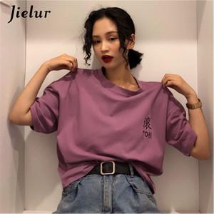 Jielur Kısa Kollu T-shirt Harajuku Mektuplar Nakış Kadın Streetwear Tops Nedensel Kadın T Gömlek Hipster Serin Roupas Feminina T3190603