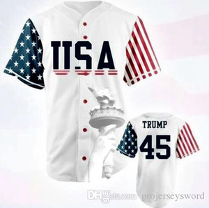 EUA Baseball Jersey 45 Donald Trump Edição Comemorativa 100% costurado Baseball Jersey barato branco S-3XL frete grátis
