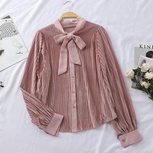 HELIAR Camicetta donna in velluto rosa Peter Pan Collar Office Lady primavera Top Casual in velluto Camicetta donna allentata 2019