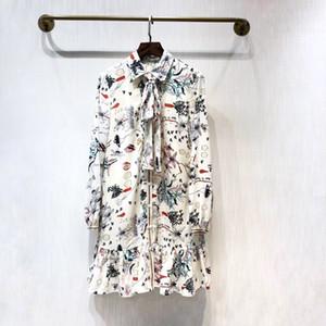 Milán Pista vestido 2020 de la solapa del cuello de manga larga de las mujeres del diseñador vestido de gama alta Imprimir Vestidos de Fiesta 7822