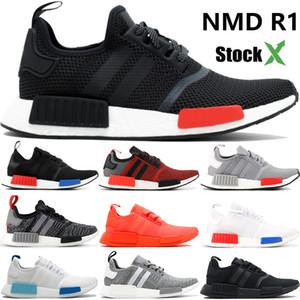 Stockx NMD R1 Avrupa Münhasır gür beyazlatmak mavi üçlü siyah beyaz adamlar spor ayakkabıları kırmızı koşu ayakkabıları mens tasarımcı eğitmenler womens US5-11