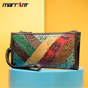 Women Wallets Vintage Long Genuine Leather Purse Holder Fashion Phone Handbags Multicolored Shoulder Bags Chain Crossbody Bags Ethnic Clutch