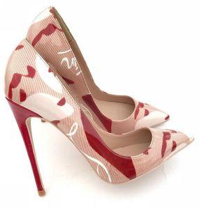 Las mujeres libres del envío de señora Woman Red Bottom Nude charol púrpura Poined Toes boda tacones estilete tacones altos zapatos bombas 12 cm 120 mm
