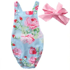 emmababy bebé niña de ropa floral sin mangas mono del mono + handwear 2PCS Trajes Ropa sunsuit