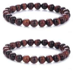 Natural Stone Bracelet 8mm Beads Red Tiger Eye Bracelets for Men Women Jewelry Stretch Bangle Fashion Accessories