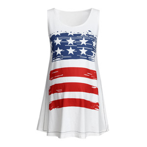 Women maternity tops Summer Pregnant Maternity Sleeveless Blouse Tops Striped and stars Print maternity clothes Vest 4th Of July