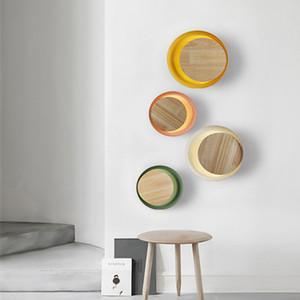 Nordic Macaroon Wood Bedside Led Wall Lamp Art Concise Eclipse Dinner Cafe Corridor Hotel Apliques de pared Envío gratis