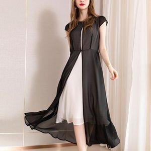 2019 Yaz Giyim Zarif Vent Sarkaç Kısa Kollu Gösterisi Olacak Yüksek Seçim Uzun Fon Elbise Shenzhen Takım Elbise