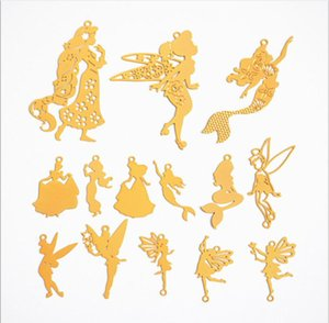Charms 10pcs Diy gold Copper Computer Pieces mermaid princess flying fairy angel charms jewelry making Accessories Japanese Elves Seals