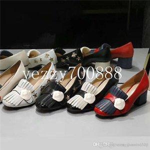 Clássico Mid salto alto de couro sapatos de barco Designer Ocupação sapatos de saltos de Cabeça Redonda de Metal mulher Botão Vestido sapatos Grande fdzhlzj size34-42