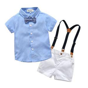 cardigan à manches courtes Vêtements pour enfants Garçons T-shirt gentleman costume chemise mode short salopette vêtements 2 jeux