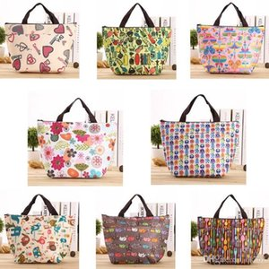 2018 New Fashion Printing Oxford cloth zipper Aluminum foil lunch storage bag Portable lunch box insulation ice pack outdoor picnic bag