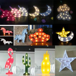 Tabla niños lindos de la lámpara de Navidad luces LED flamenco del corazón del unicornio forma de piña linterna lámparas de decoración de la noche a casa de luz ambiental Modelado