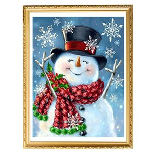 DIY 5D Diamond Painting Number Kit Snowman Rhinestone Pictures Arts Home Wall Decor QP2