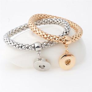Snap Schmuck Austauschbare Noosa Chunks 18mm Metall Elastic Ingwerkeks Charm Statement Armbänder Silber Gold-Verschluss-Knopf-Armband Schmuck