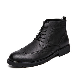 Top Quality British Men Boots Spring Autumn Shoes Fashion Slip On Boots Breathable PU Leather Male Botas Hombre
