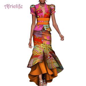 2019 المرأة اللباس قطعتين مجموعة النساء نفخة الأكمام المحاصيل القمم طويل ماكسي تنورة مجموعات الأفريقية حورية البحر ماكسي الملابس 6xl WY4211